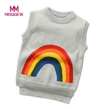 Newest Autumn Winter 2017 kids sweaters and pullovers Boys Girls Rainbow baby sweater Sleeveless Knitted Pullovers Outerwear(China)