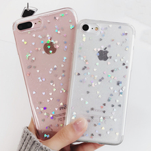 LOVECOM Phone Case For iPhone 5 5S SE 6 6S 7 Plus Hot Glitter Powder Paillette Love Heart Transparent Soft TPU Phone Back Cover