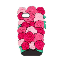 2017 Fashion sexy girl perfume lipstick rouge simulation green leaves pink rose flower soft silicone case cover For Iphone