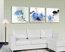 3 Piece free shipping Hot Sell Modern Wall Painting blue Roses Flower Home Decorative home Art Picture Paint on Canvas Prints(China)
