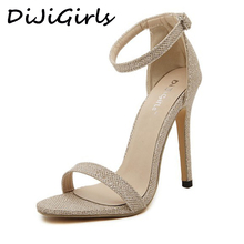 DijiGirls wedding bridal women sandals stilettos pumps high heels ankle strap glitter sequined wedge sexy sandals gold silver(China)