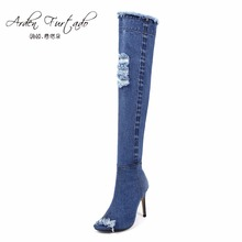 2017 blue denim boots over the knee thigh high boots summer knee high boots for women high heels women shoes tassel jeans boot(China)