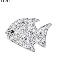 Free shipping 10pcs rhinestone fish snap button charm for  snap button bracelet 18mm