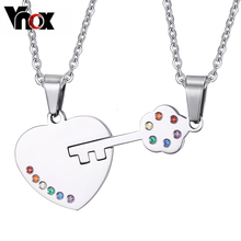 Vnox Key Couples Necklace Pendant Sets Rainbow LGBT Jewelry Stainless Steel(China)