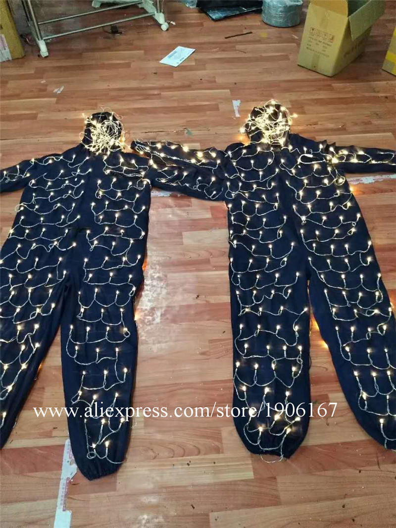 Colorful led luminous robot suit stage perfromance costume07