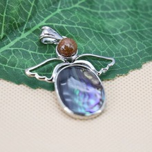 34x38mm Hot sale Angel wings Ethnic Chic abalone Natural Abalone seashells sea shells pendants jewelry making design crafts gift