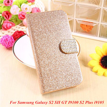 Fashion Bling Glitter Luxury Flip Wallet Case For Samsung Galaxy S2 SII GT I9100 S2 Plus i9105 Phone Bag Case