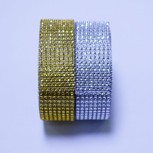 1 Yard 4cm 8 rows Silver Gold Diamond Mesh Trimming Wrap Roll Sparkle Rhinestone Crystal Cake Ribbon Wedding Party Decorations
