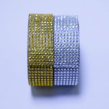 1 Yard 4cm 8 rows Silver Gold Diamond Mesh Trimming Wrap Roll Sparkle Rhinestone Crystal Cake Ribbon Wedding Party Decorations(China)