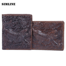 Brand Vintage Retro 100% Genuine Cow Leather Cowhide Men Mens Male Short Bifold Wallet Wallets Purse Card Holder Tiger Pattern