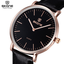 SKONE Famous Brand Ultra-thin Dial Men & Women Watches Analog Quartz Leather Watch Male Casual Wristwatch reloj hombre Relogio(China)
