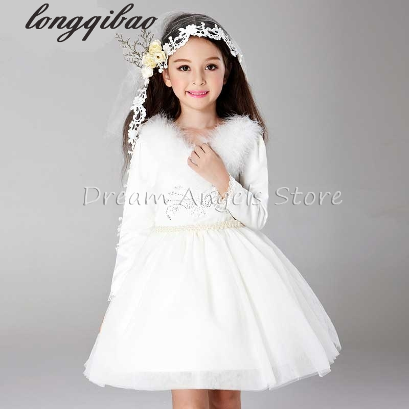 Top quality Girls long sleeved dress princess childrens evening dress flower girl dress wedding dress Performance clothing<br><br>Aliexpress