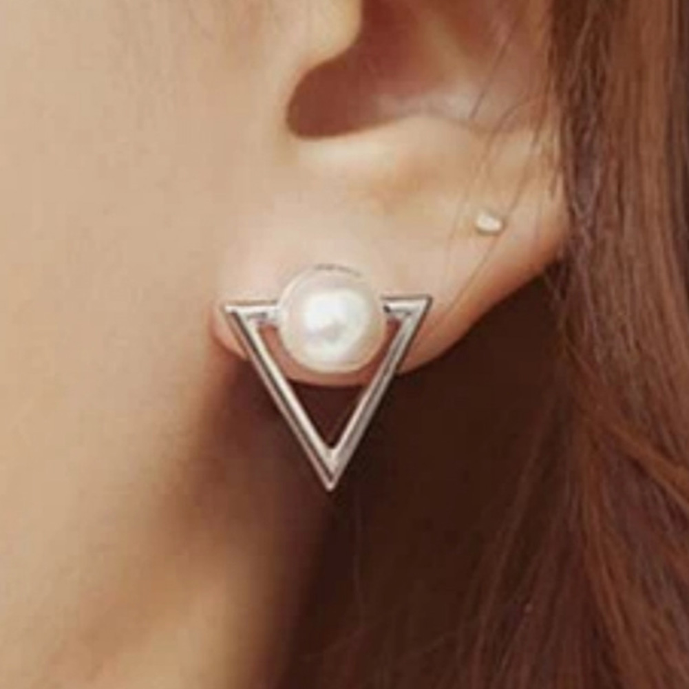 Geometric Stud Earrings Personalized Triangle Imitation Pearl Earrings For Women Jewelry