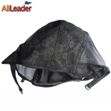 Mixed S/M/L/Xl Wholesale 5 Pcs/Lot Swiss Lace Materials For Wigs Making Black Color Weaving Net Wefted Wig Cap Bonnet Perruque