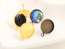 12mm 16pcs Antique Bronze And Gold Plated Earring Studs,Earrings Blank/Base,Fit 12mm Glass Cabochons,Buttons;Earring Bezels(China)