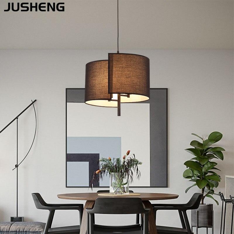 JUSHENG Fabric Chandelier Living Dining Room LED Pendant Lights for Bedroom Kitchen Bedside Restaurant Lighting Fixture E14 Bulb
