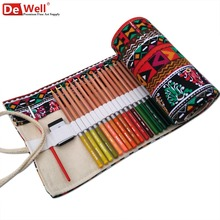 36/48/72 Holes Colour Pencil Bag Case Sketch Handmade Canvas Roll Up Pencil Case Pencil Holders Bag School Stationery Gifts