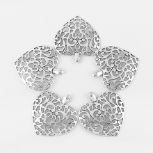 5pcs Antique Silver Hollow Open Artwork Heart Charms Pendant for Pendant Necklace Bracelet Jewelry Making Accessories 55.5*51mm(China)