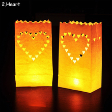 "20pcs/lot ""LOVE"" Candle Bag Retardant Paper Bags Luminaria Flame Lantern For BBQ Valentine Day Wedding Party Home Outdoor Decor"