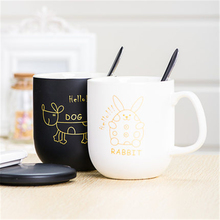 Cartoon Cute Coffee Mugs Tea Cup With Lid Creative Goods Personalized Animal Fincan Cartoon Eco-friendly Mugs Stocked DDQ65