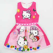 Brand New Year Girls Clothes Christmas Girl Kids Dresses Fashion Princess Party Cute Hello Kitty Dress Baby Children Clothing