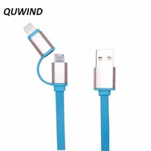 QUWIND Noodles 2 in 1 USB to Micro USB 8pin Date Charger Cable For iPhone 5 6 6S 7 Plus Samsung S6 MOTO HuaWei Android