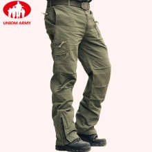 Cotton Trousers Cargo-Pants Many-Pocket Camo Jogger Zip Military-Style Army Black Male