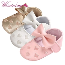 Bebe PU Leather Baby Boy Girl Baby Moccasins Moccs Shoes Bow Fringe Soft Soled Non-slip Footwear Crib Shoes(China)