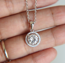 2017 new arrive 925 sterling silver bling Halo AAA cubic zirconia wedding cz necklace(China)