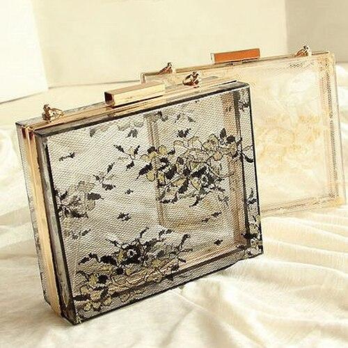 2017 Fashion Women Transparent Lace Acrylic Perspex Clutch Clear Purse Evening Bag Handbag Free shipping black &amp; white<br><br>Aliexpress