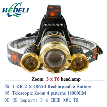 10000 lumens rechargeable led headlamp 3T6 head flashlight torch cree xml t6 head lamp waterproof lights headlight 18650 battery
