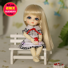 OUENEIFS free shipping 1/8 bjd sdcustom-made baby clothes, girls wear plaid skirts, white aprons, no wigs or dolls YF8 to 6