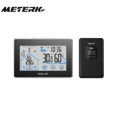 Wireless Indoor Outdoor Digital LCD Thermometer Hygrometer Clock Temperature Humidity Measurement Comfort Level Indictor(China)