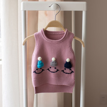 Hot 2017 spring and autumn girls vest sweater girl baby cartoon hat smiling face lovely sweater kids girls cute sweaters(China)
