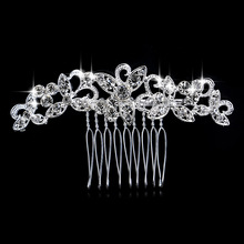 Diamante Rhinestone Crystal Leaf Flower Hairpins Silver Color Wedding Tiara Bridal Hair Combs Women Wedding Hair Accessories