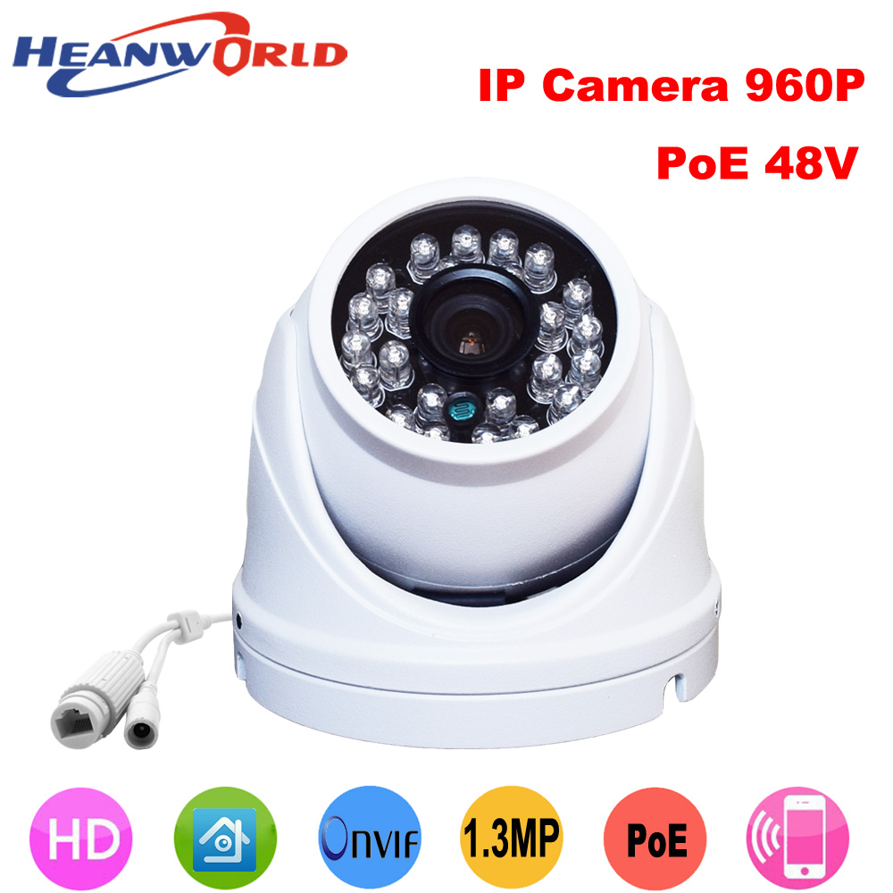 1.3MP Outdoor waterproof mini metal dome Ip camera 960p support POE cctv security surveillance webcam onvif Infrared IR camera<br>