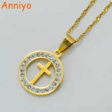 Anniyo Cross Necklaces for Women/Girls,Gold Color Religious Ornaments,Christianity/Catholicism Pendant With Stone #002608