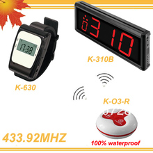 433.92MHZ 1 set Tea house Wireless Call Calling Waiter Server Paging Service System K-310B-630-O3 DHL free shipping free