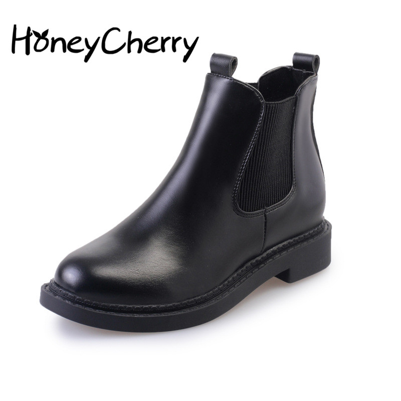 2017 Europe Ladies Boots Martin Boots With Thick Waterproof Solid Round Of Autumn 2017 Bottine Women Boots<br><br>Aliexpress