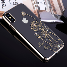 KINGXBAR for iPhone X 10 Case Swarovski Element Crystals Diamond Rhinestone Luxury Hard Case for iPhone X Cover Phone Coque Capa(China)