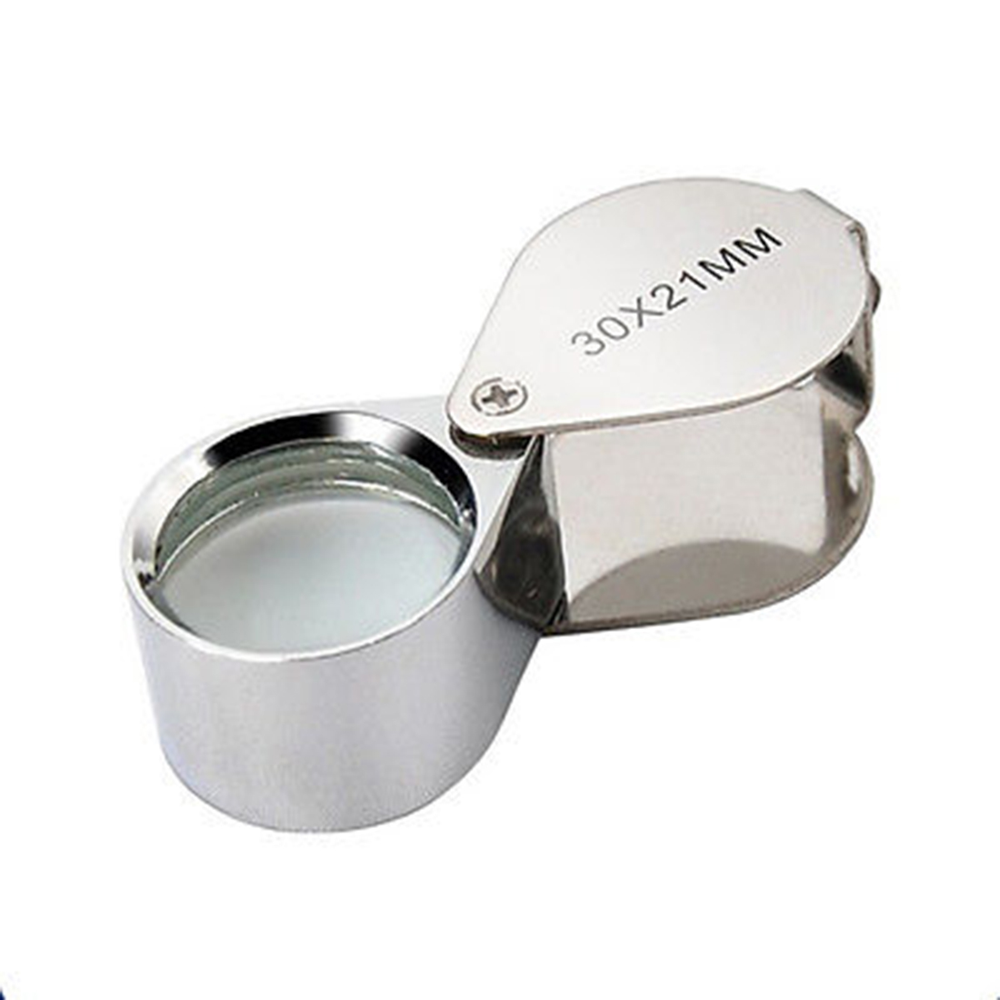 Silvery 30X-21mm Jewelry Magnifying Glass Magnifier Jewelers Loupe