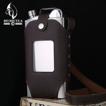 BIUBIUTUA Big Capacity 35 OZ Stainless Steel Whiskey Flasks Removable Brown Transparent Holster Buckle Hip Flask Men Portable(China)