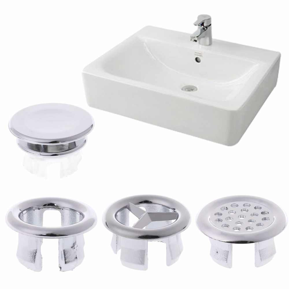 5pcs Basin Sink Round Overflow Cover Rings Insert Replacement Bathroom Accessory