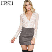 HYH HAOYIHUI Deep V White Lace Women Blouse 2017 Autumn Embroidery Elegant Chemise Female Transparent Mesh Plunge Neck Blaus(China)
