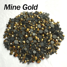 Hotfix Rhinestone Mine gold Strass Mixed size SS6-SS30 2060Pcs/lot for rhinestone motifs free shipping