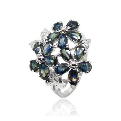 2017 Qi Xuan_Fashion Jewelry_Dark Blue Stone Luxury Flower Rings_S925 Solid Sliver Fashion Rings_Manufacturer Directly Sales