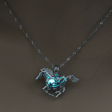 Retro Horse Glow in the Dark necklace Silver Chain Jewelry Ancient Running Horse Pendants For Mens Punk Horse Necklace(China)