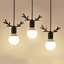 Nordic fancy black deer antler hanging pendant lights Northern American Art Decor wrought iron pendant lamp kids room restaurant(China)