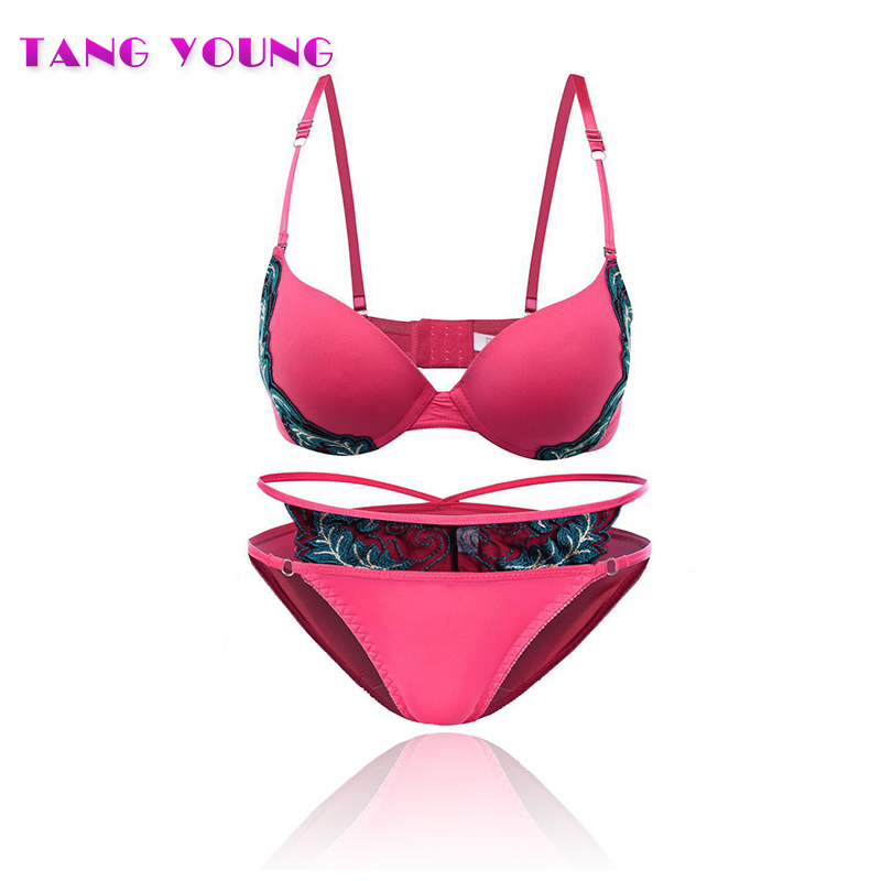 TANG YOUNG cotton embroidery 3/4 cup red bra set women sexy breast gather bra lace Bra Set Women Underwear Girl Sexy lingerie
