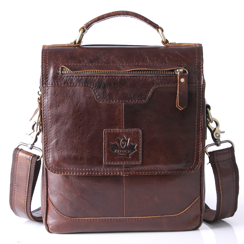 ZZNICK Genuine Leather Crossbody Messenger Shoulder Bag Men Business Cowhide Tote Handbag High Quality Travel Casual Male Bags<br>